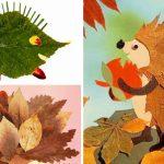 Ёжики из осенних листьев
