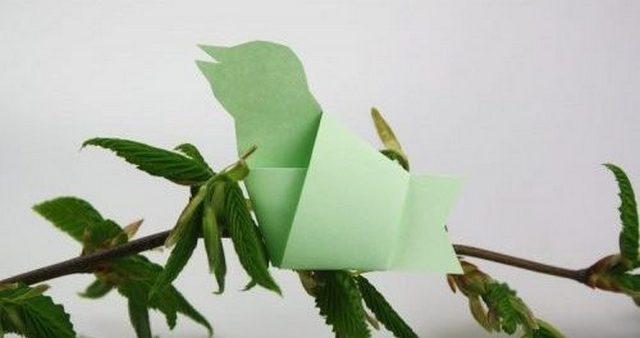 Фото 5. Птичка в технике оригами -
