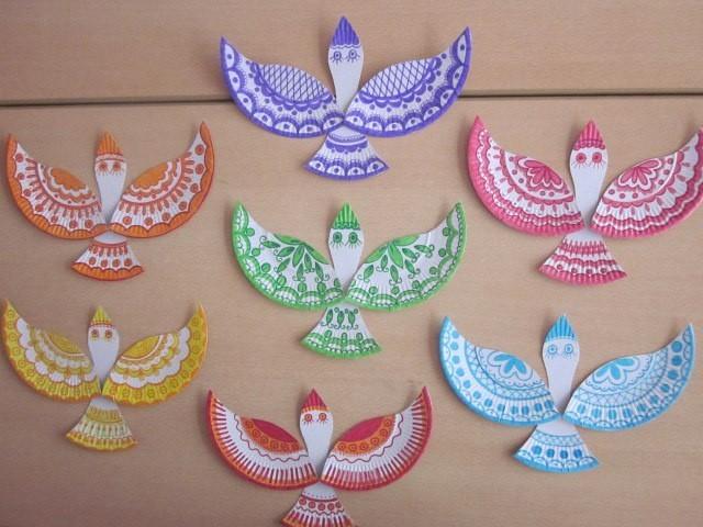 Птички из бумажных, одноразовых тарелок