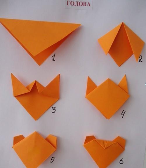 оригами мышка схема сборки пошагово