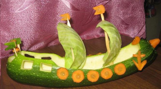 корабль из кабачка