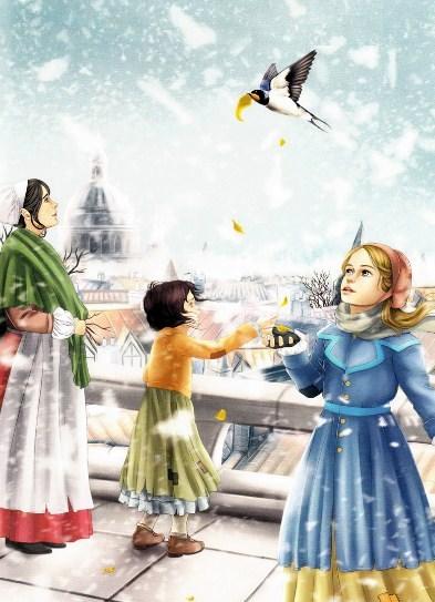 Золото статуи счастливого принца ласточка раздает людям