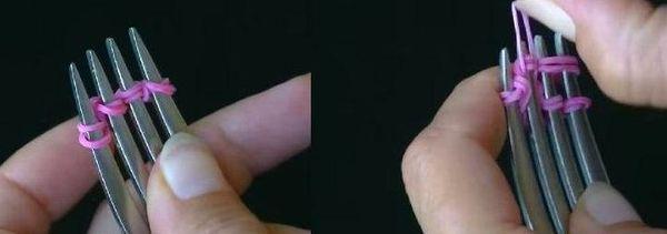 как сделать браслет из резинок рыбий хвост