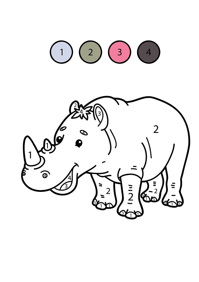 Раскраска Носорог по цифрам распечатать или скачать бесплатно