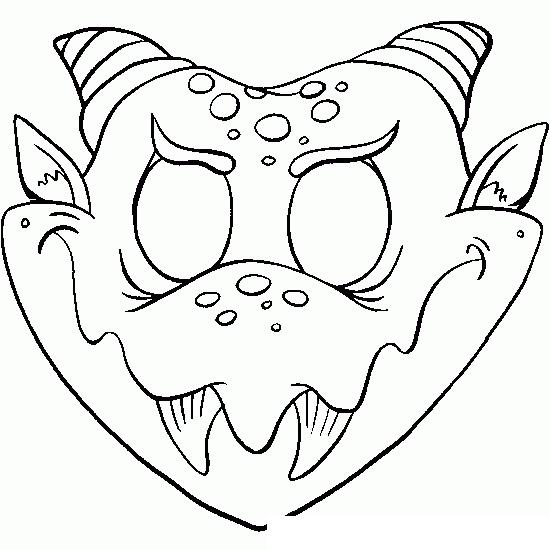 Раскраска Маска чертёнка на Хэллоуин распечатать или ...