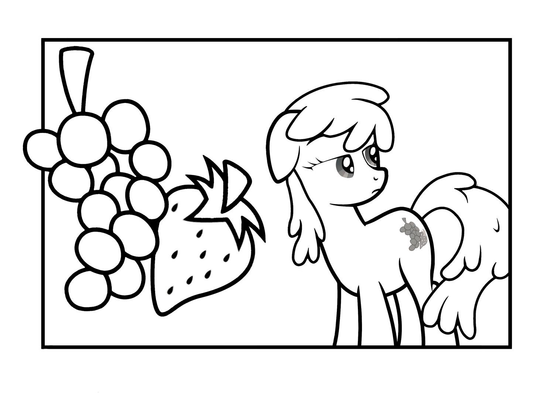 Раскраска Пони и фрукты распечатать или скачать бесплатно
