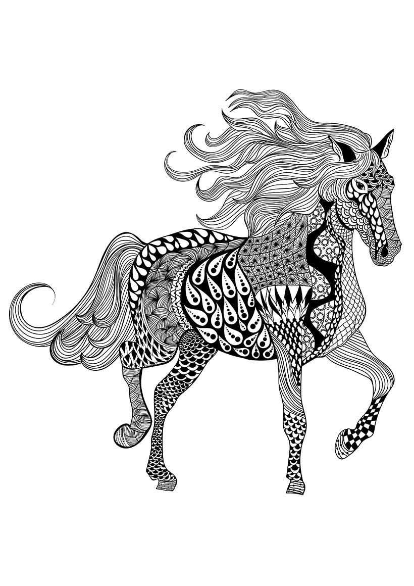 Раскраска Лошадь распечатать или скачать бесплатно