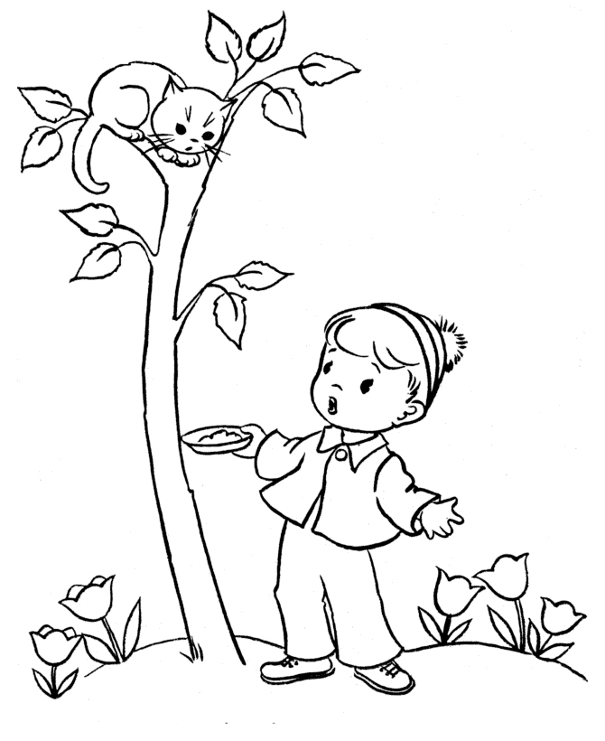 Раскраска Кот залез на дерево распечатать или скачать ...