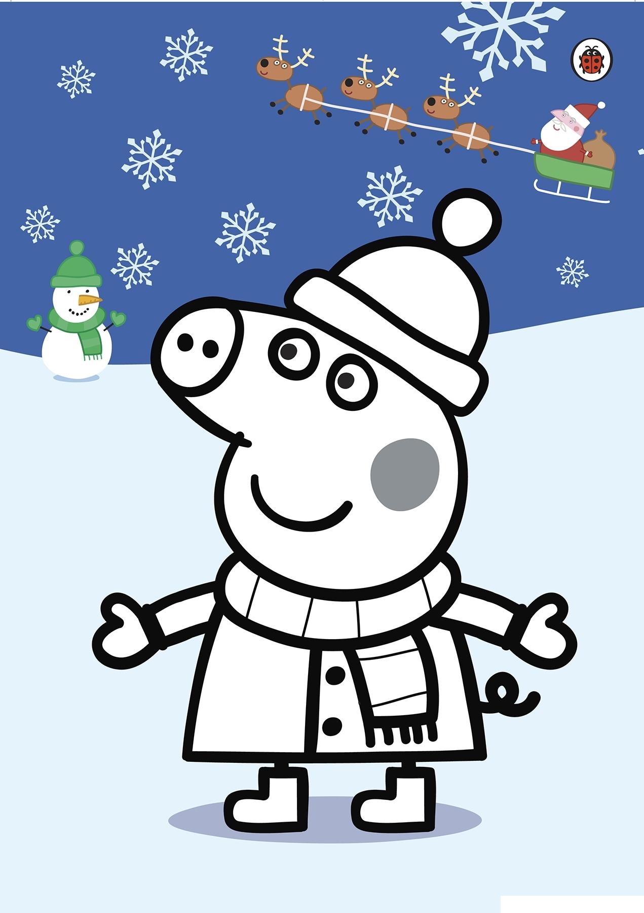 Раскраска Пеппа на Рождество и Новый год распечатать или ...