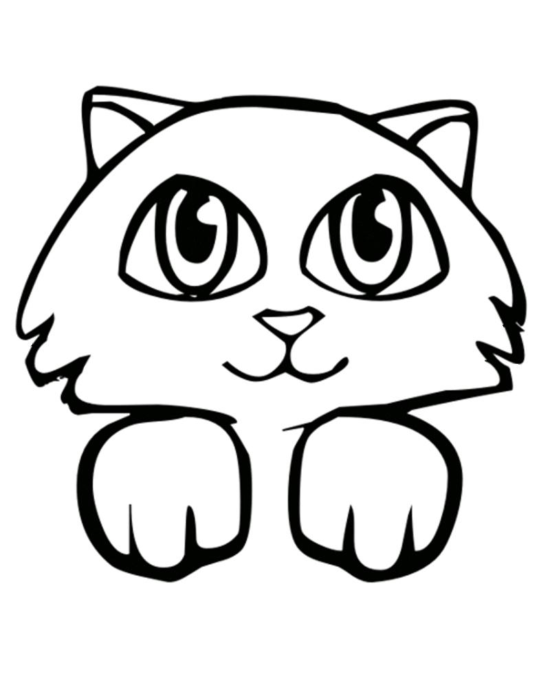 Раскраска Милый котенок распечатать или скачать бесплатно