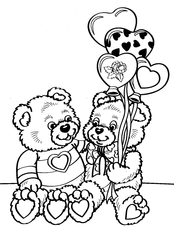 Раскраска Мишки Тедди с сердечками распечатать или скачать ...