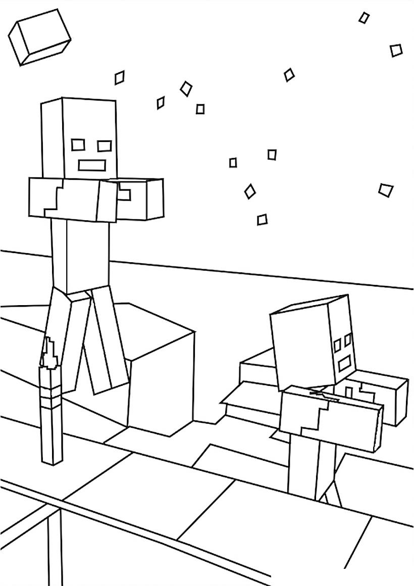 раскраска зомби Minecraft распечатать или скачать бесплатно