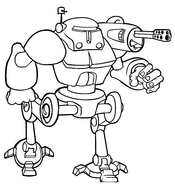 раскраска боевой робот с пушкой распечатать или скачать