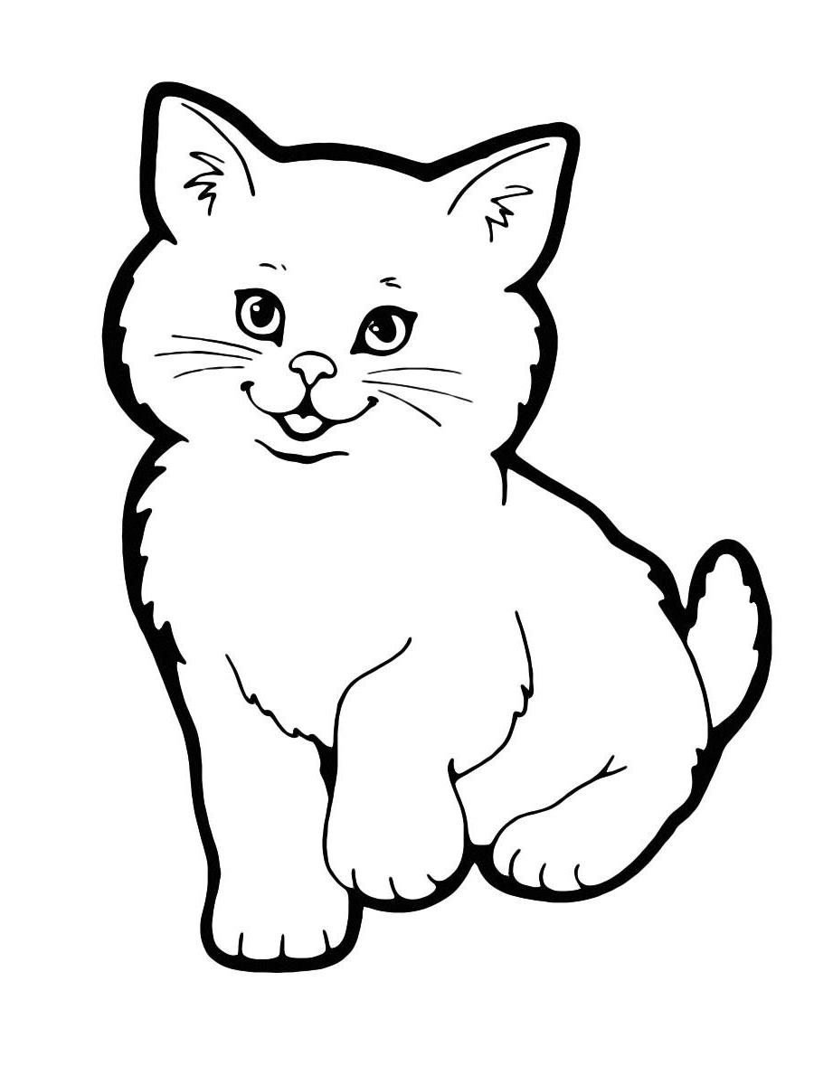 Раскраска Милая кошечка распечатать или скачать бесплатно