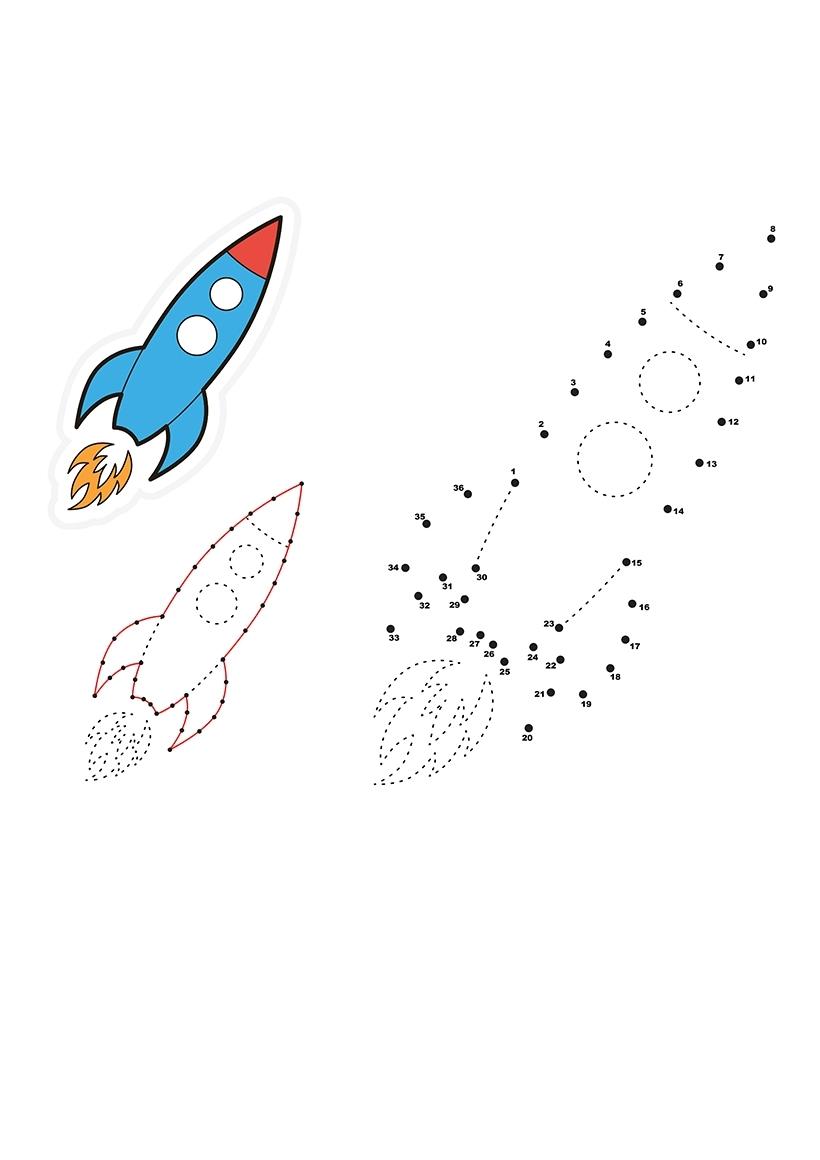 Раскраска Ракета по точкам распечатать или скачать бесплатно