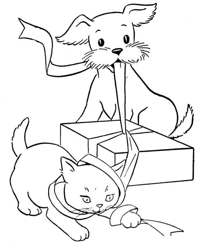 Раскраска Кошка и собака открывают подарок распечатать или ...