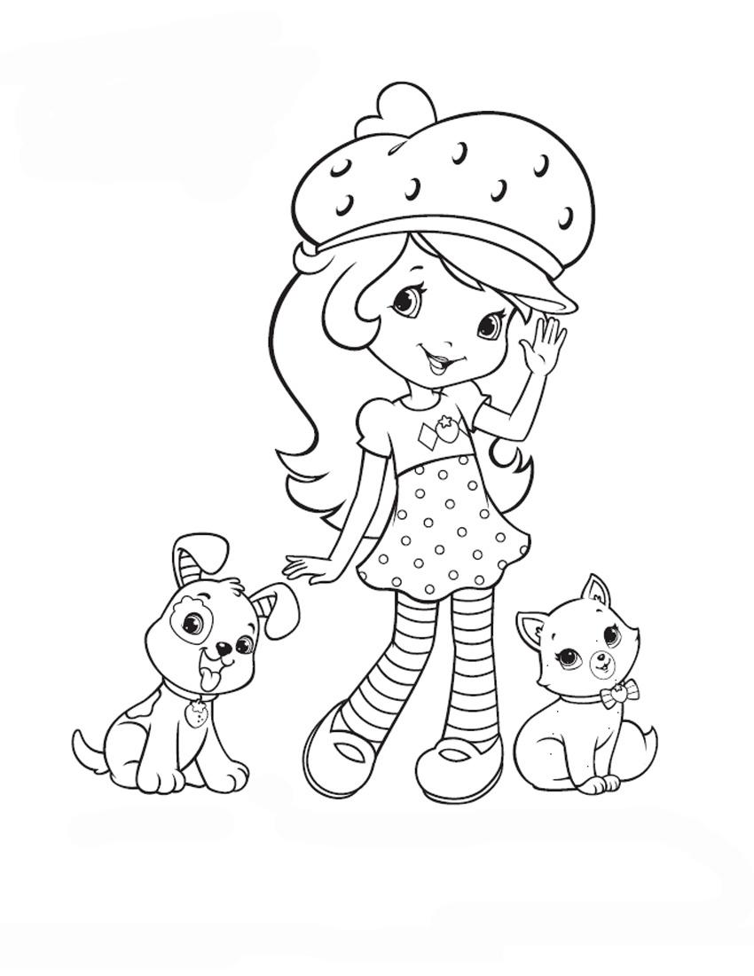 Раскраска Принцесса Клубничка с собачками распечатать или ...