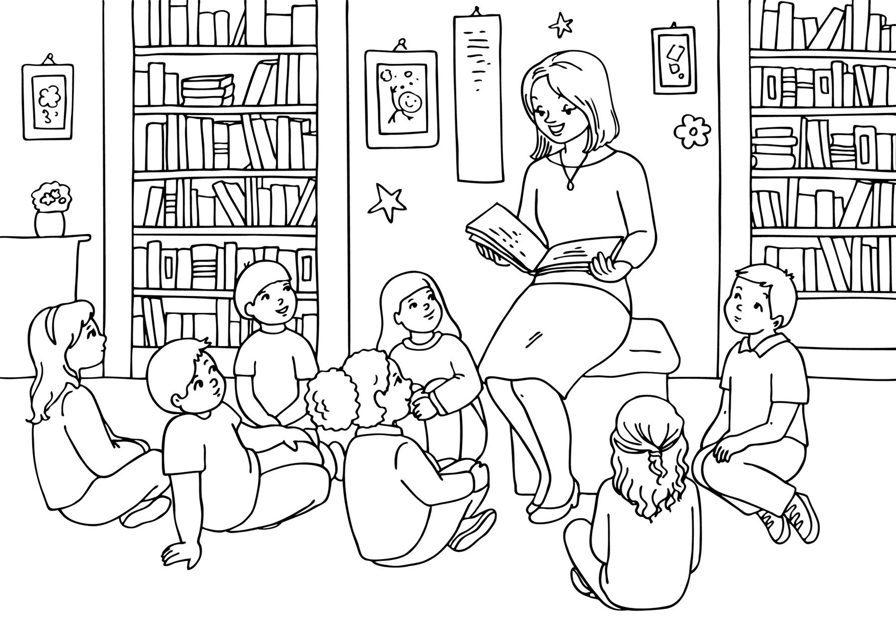 10+ Раскраска Учительница Распечатать