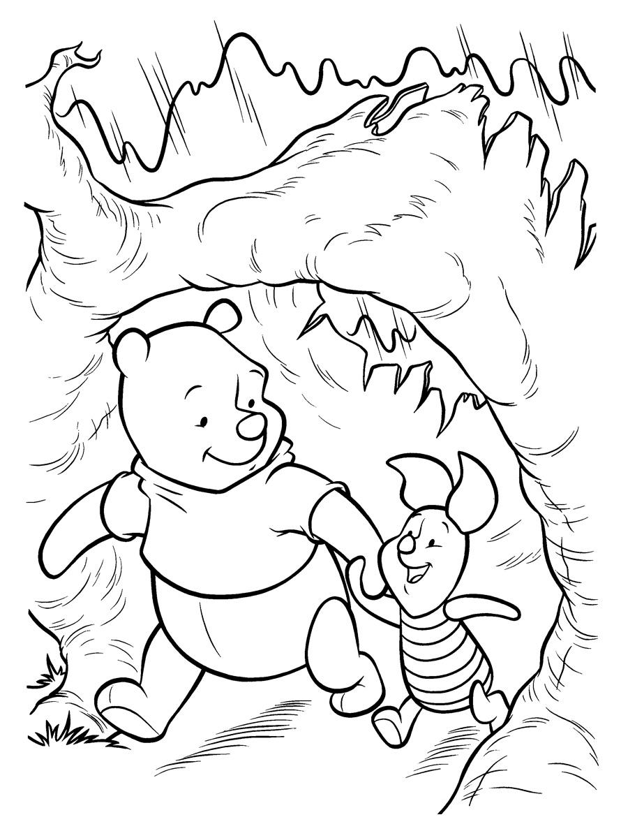 Раскраска Винни и Пятачок гуляют в лесу распечатать или ...