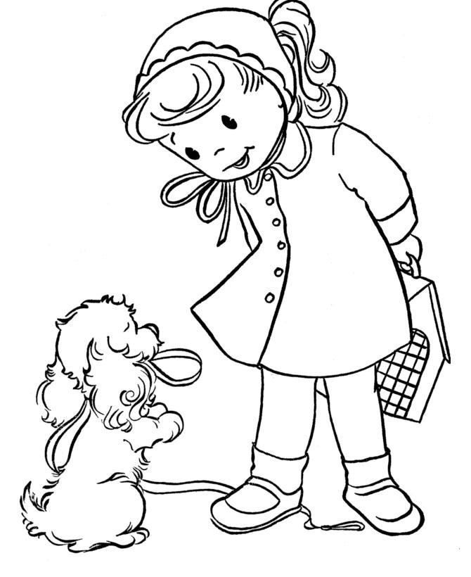 Раскраска Девочка и собачка распечатать или скачать бесплатно