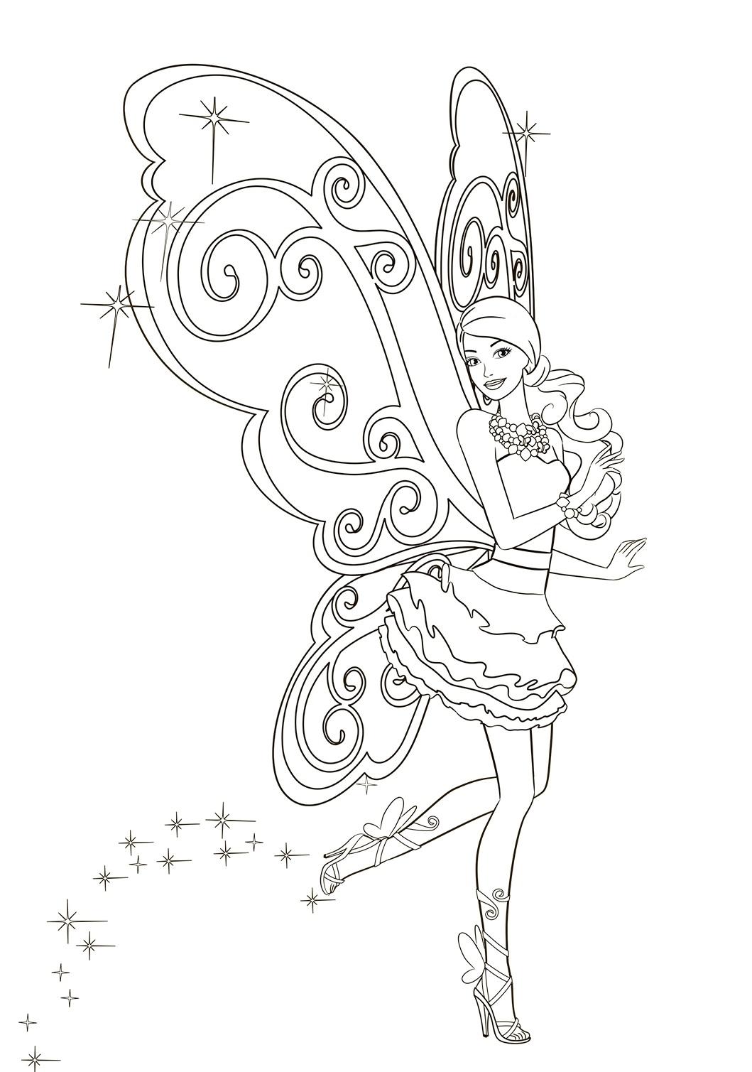 Раскраска Крылья Барби распечатать или скачать бесплатно