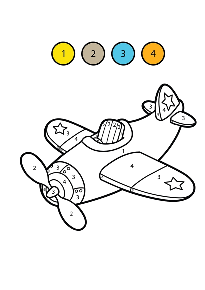 Раскраска Самолетик по цифрам распечатать или скачать ...