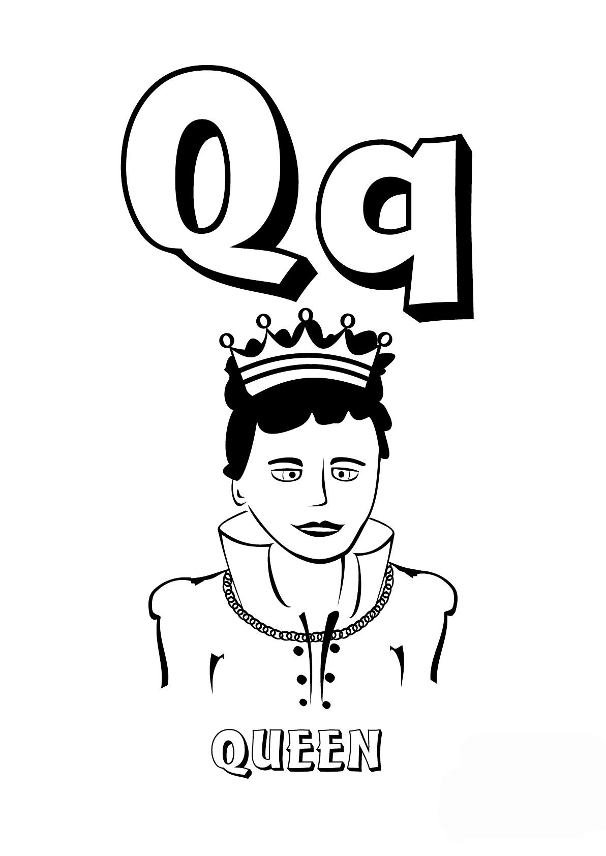 Раскраска Буква Q английского алфавита распечатать или ...