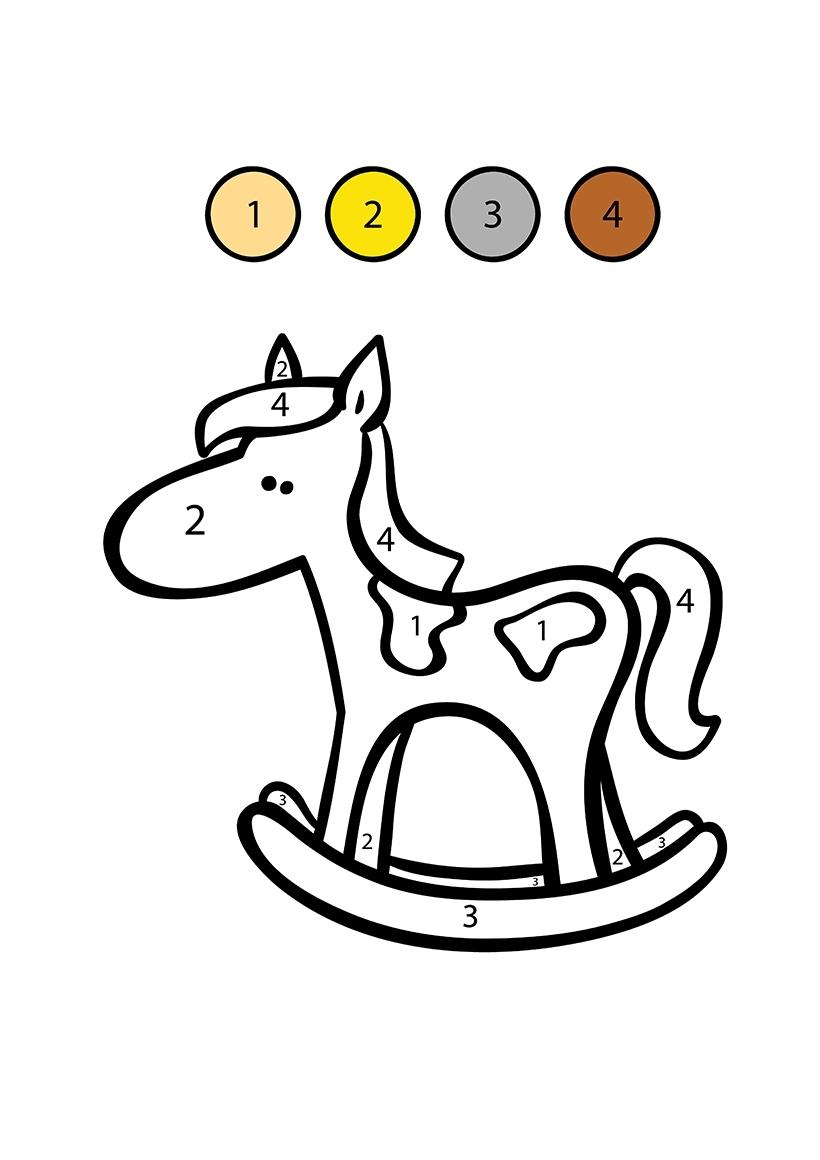 Раскраска Лошадка по цифрам распечатать или скачать бесплатно
