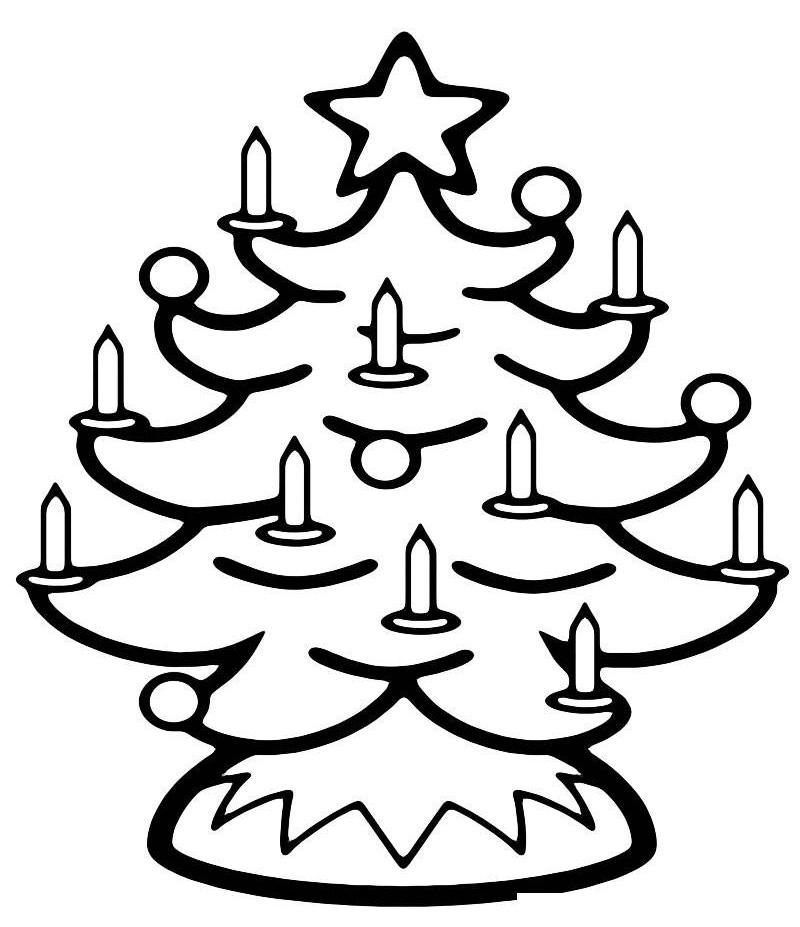 Раскраска Рождественская елка со свечками распечатать или ...