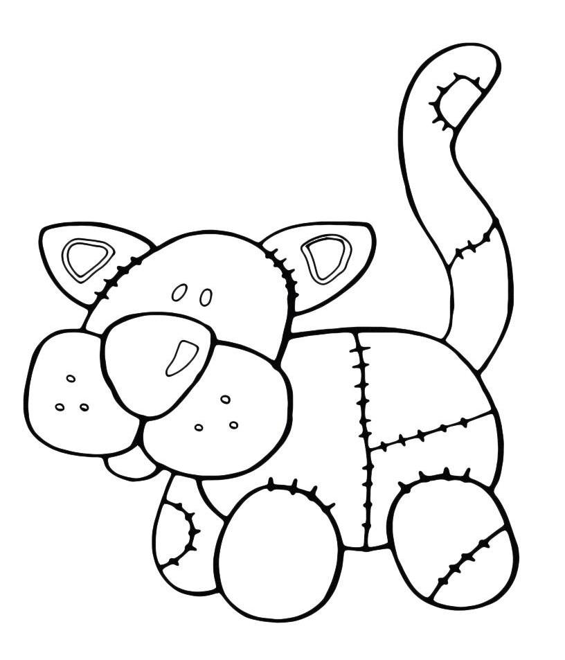 Раскраска Кот-игрушка в заплатках распечатать или скачать ...
