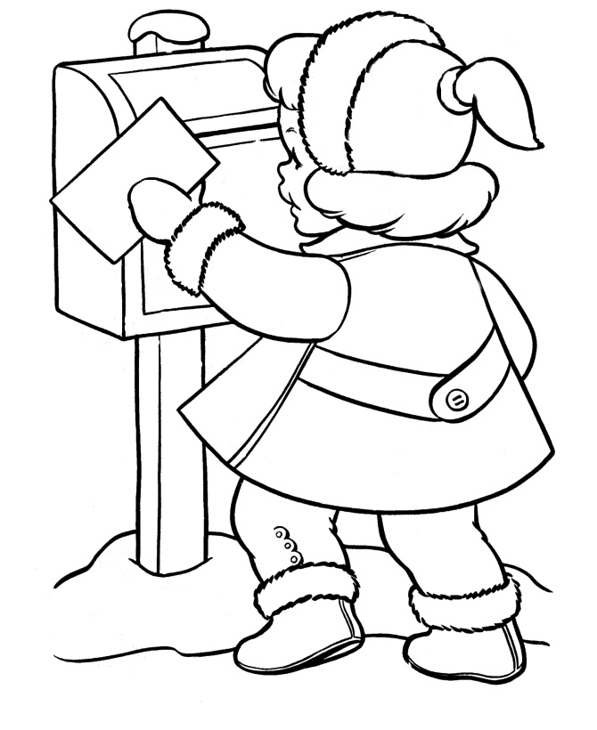 Раскраска Девочка отправляет письмо Деду Морозу ...