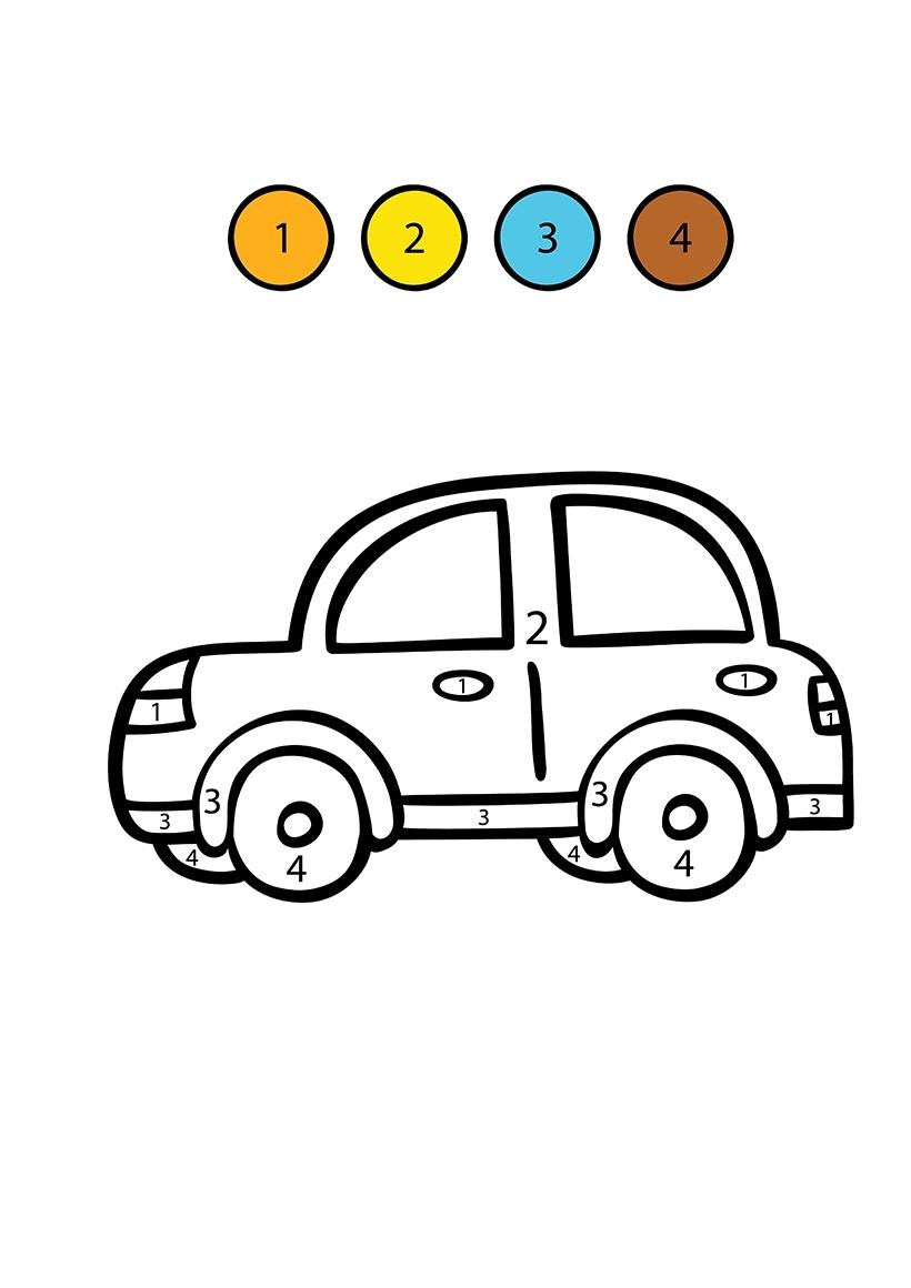 Раскраска Машина по цифрам распечатать или скачать бесплатно