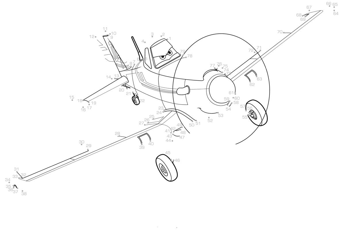 раскраска самолёт дасти по точкам распечатать или скачать