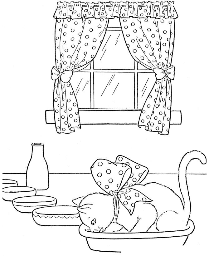 Раскраска два кота на окне