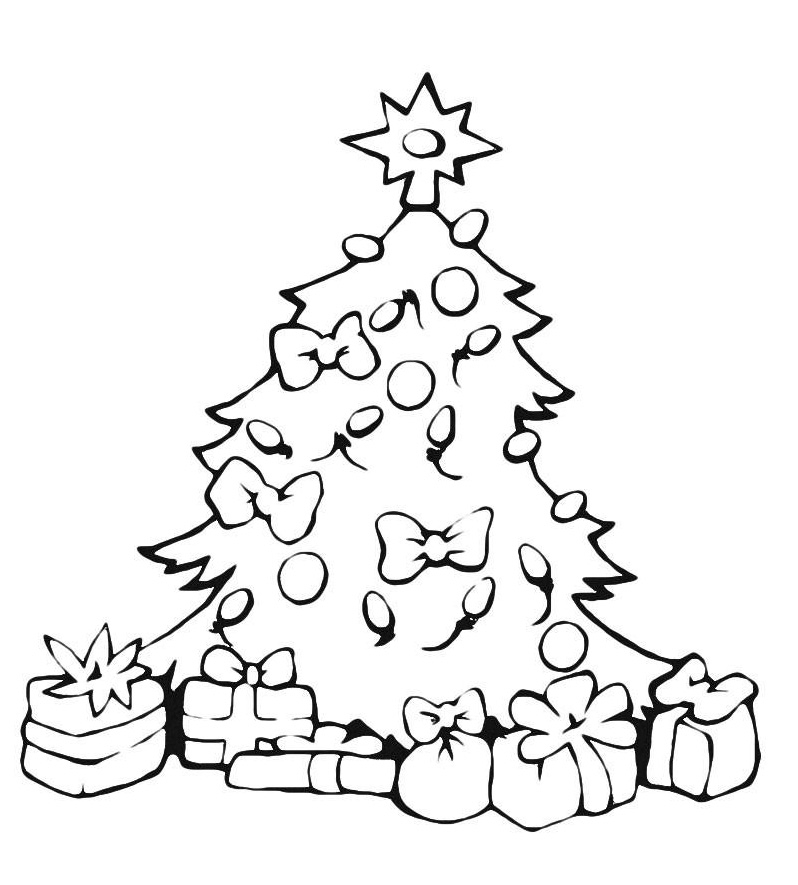 Раскраска Много подарков под праздничной елкой распечатать ...