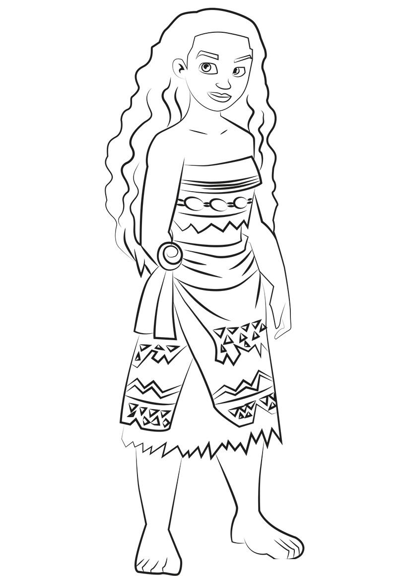 Раскраска Принцесса Моана распечатать или скачать бесплатно