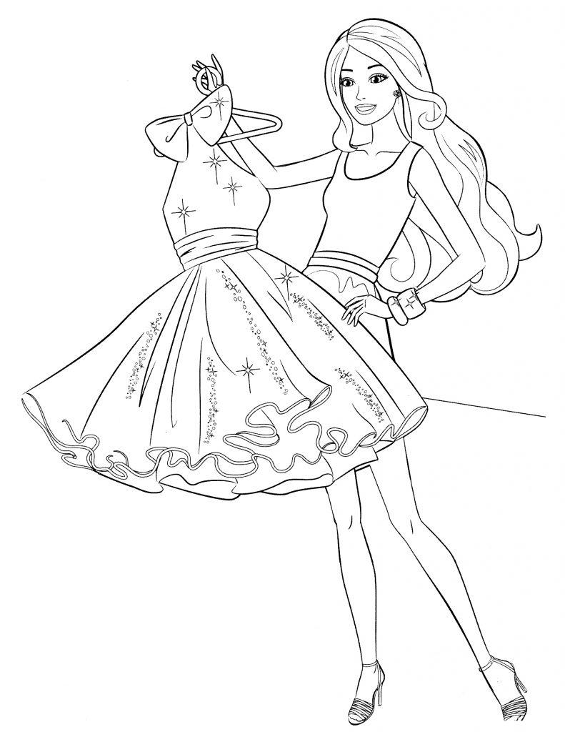 Раскраска Короткое платье Барби распечатать или скачать ...