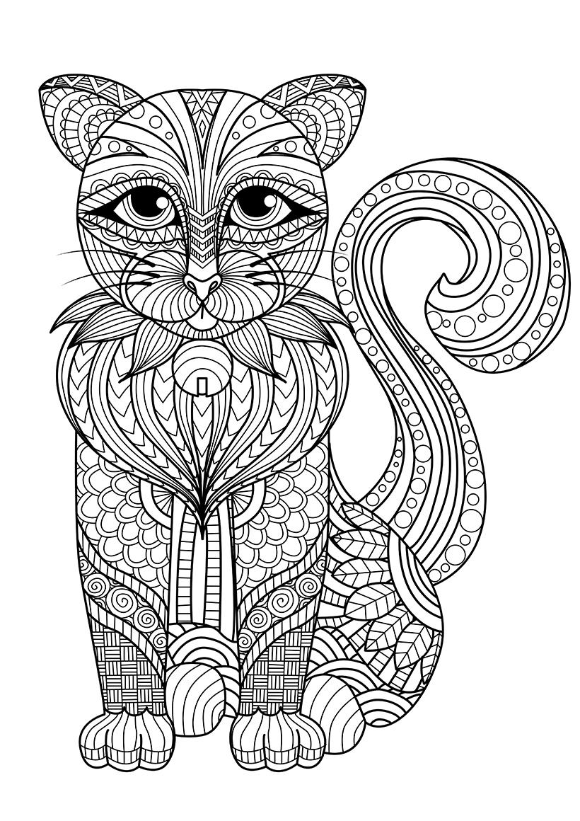 Раскраска Зентангл кошка распечатать или скачать бесплатно