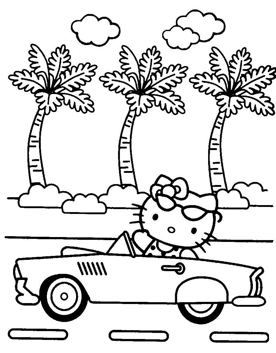 Раскраска У Китти новый автомобиль распечатать или скачать ...