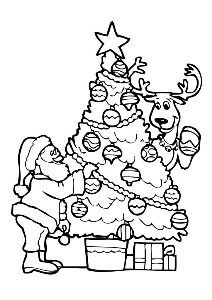 Раскраска Елку украшают Дед Мороз и олень распечатать или ...