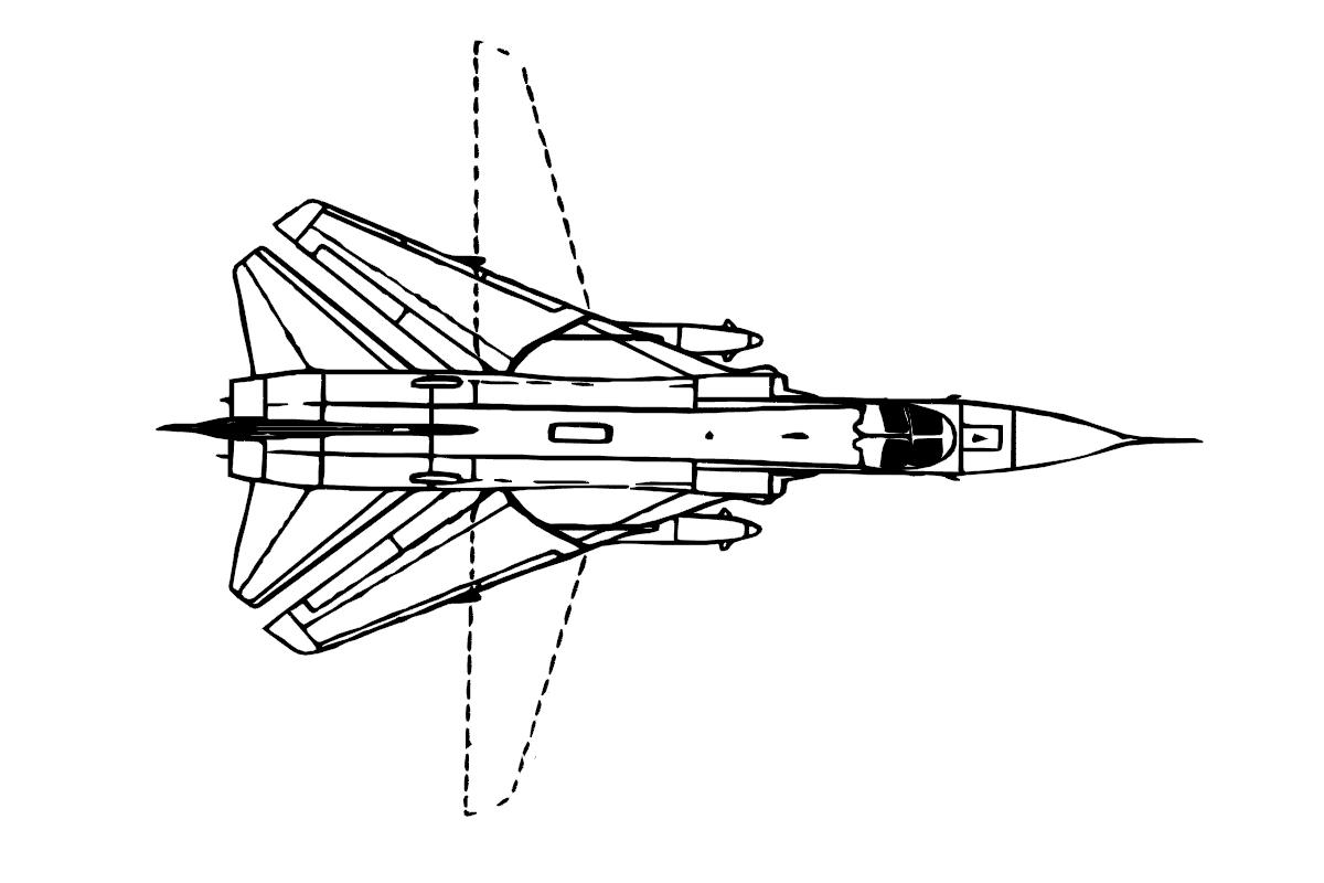 Раскраска Самолет СУ-24 распечатать или скачать бесплатно