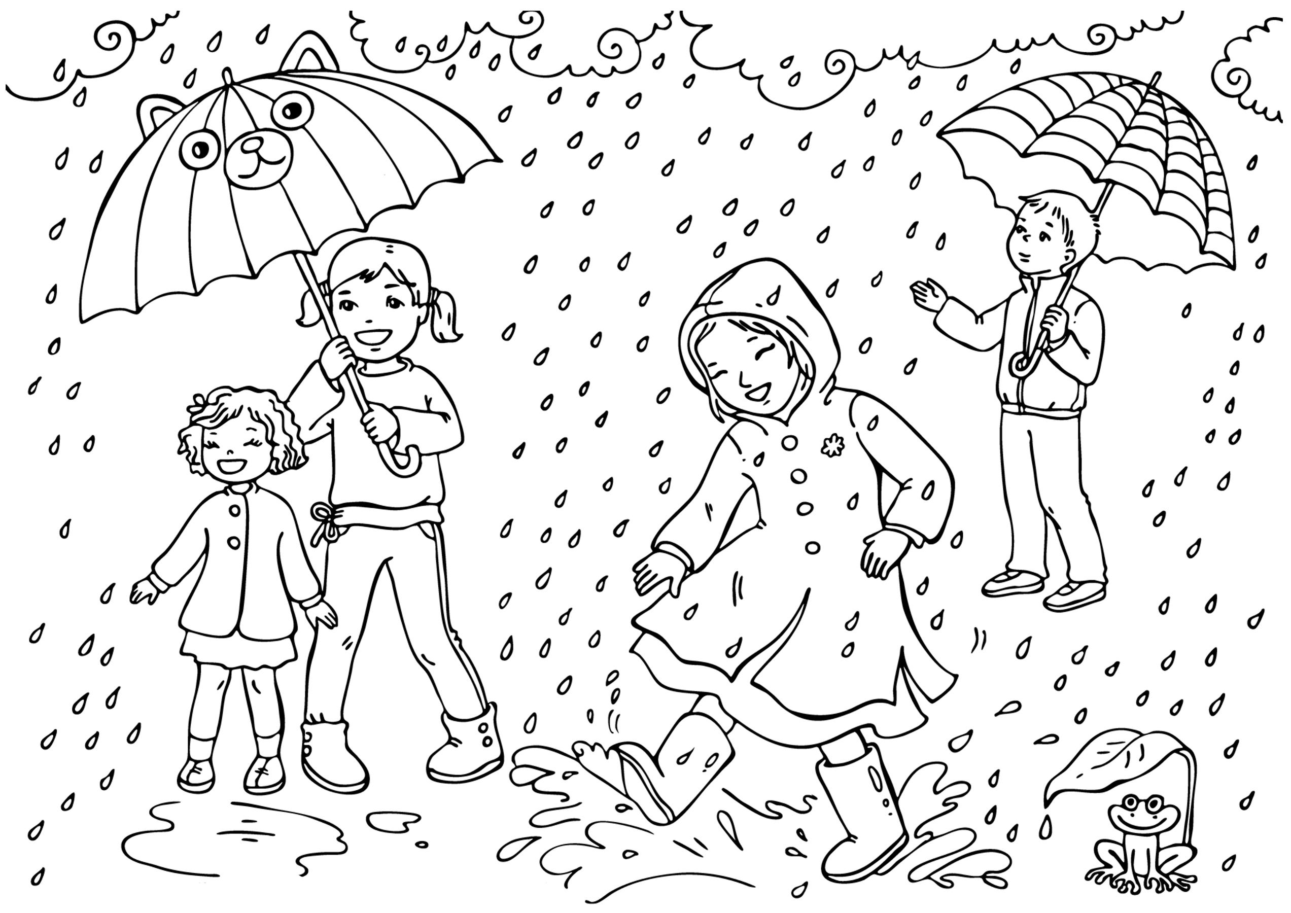 Картинки идет дождь раскраска