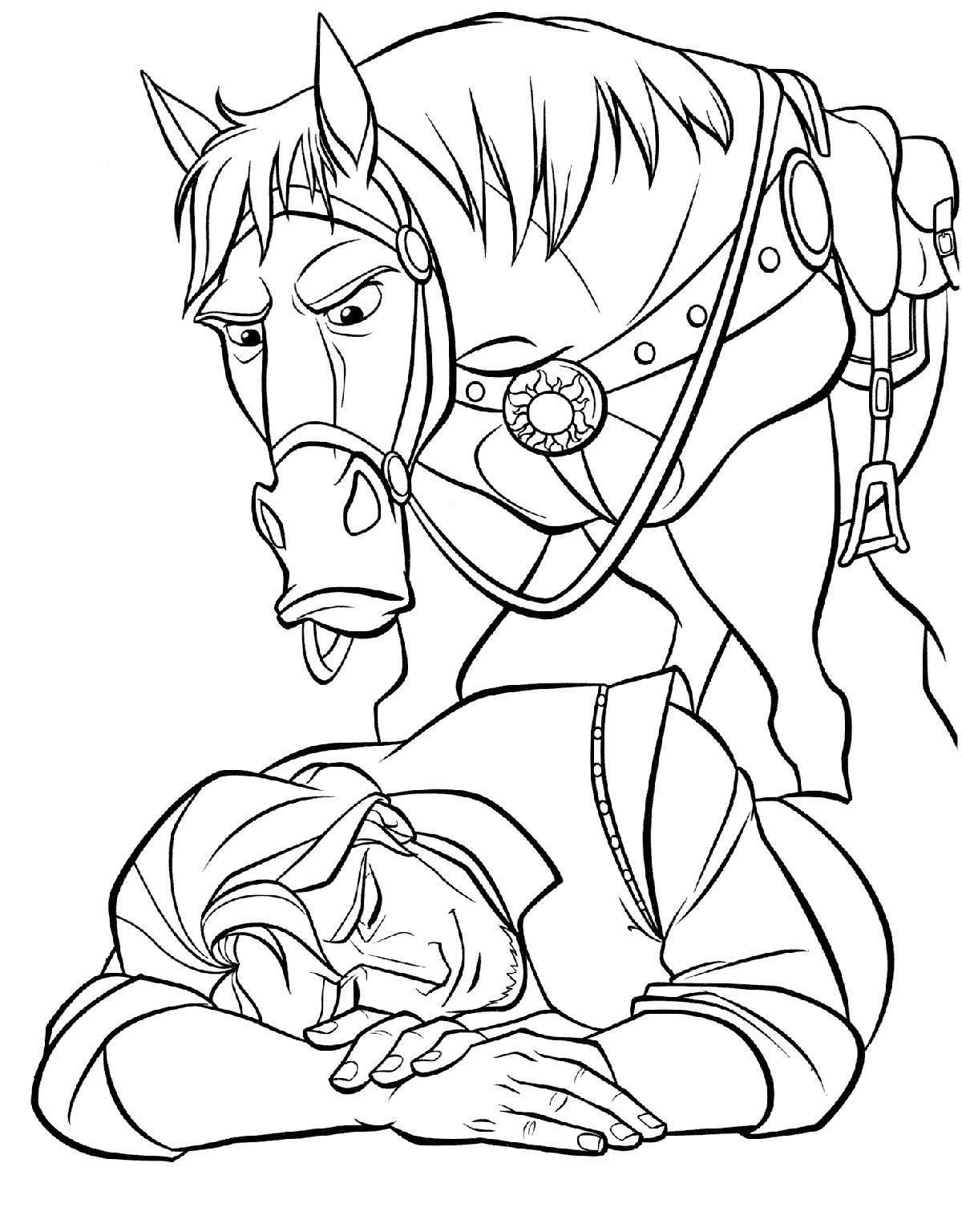 Раскраска Конь Максимус нашел Флинна распечатать или ...