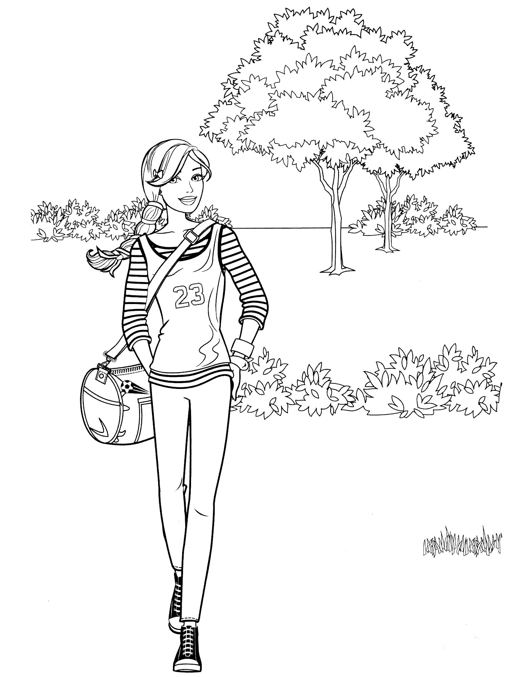 Раскраска Барби на прогулке распечатать или скачать бесплатно