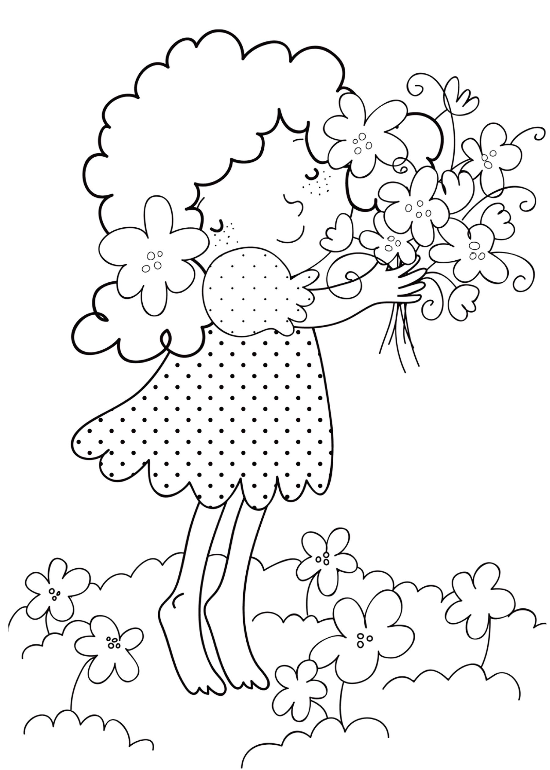 Раскраска Девочка с цветами распечатать или скачать бесплатно
