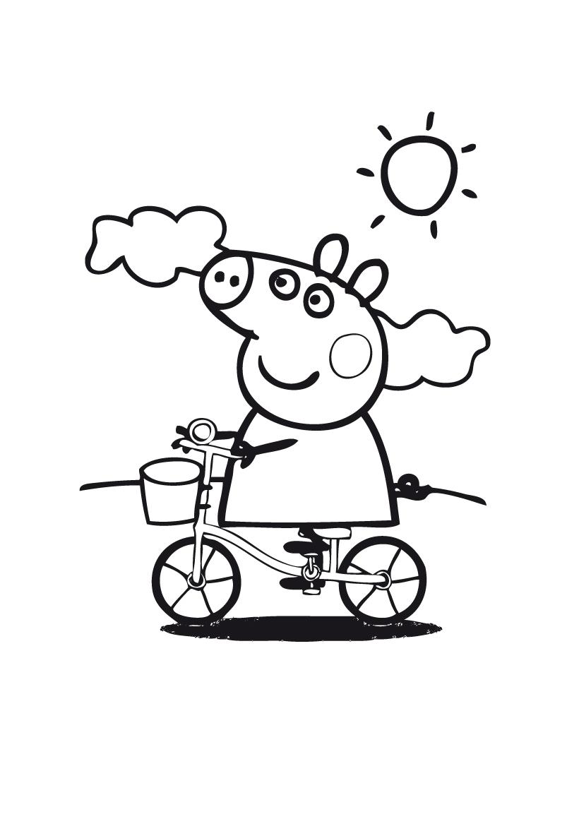 Раскраска Свинка Пеппа на велосипеде распечатать или ...