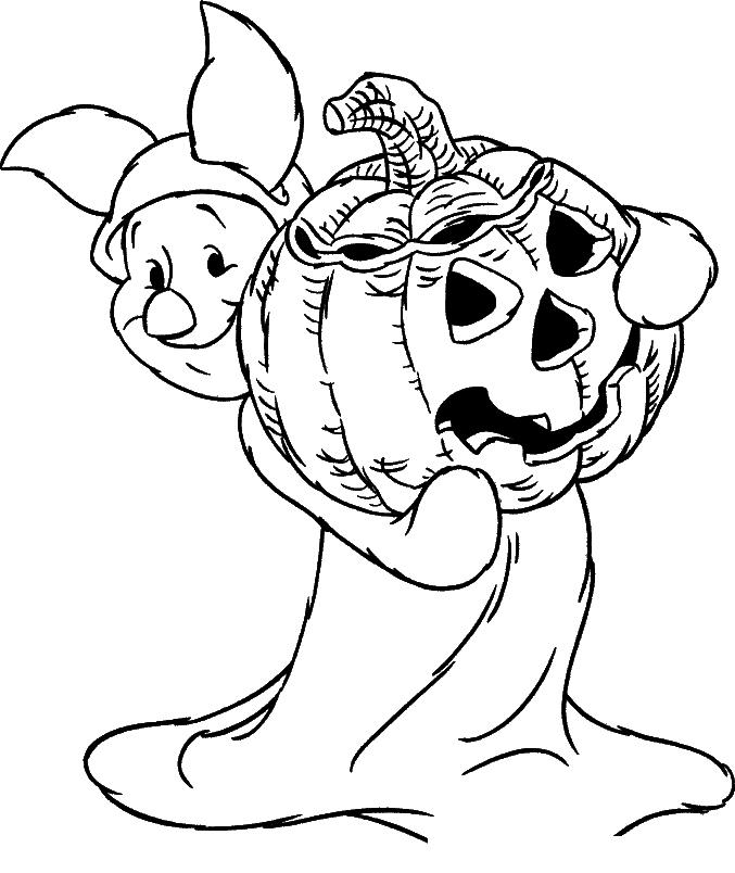 Раскраска Пятачок с тыквой идёт на Хэллоуин распечатать ...