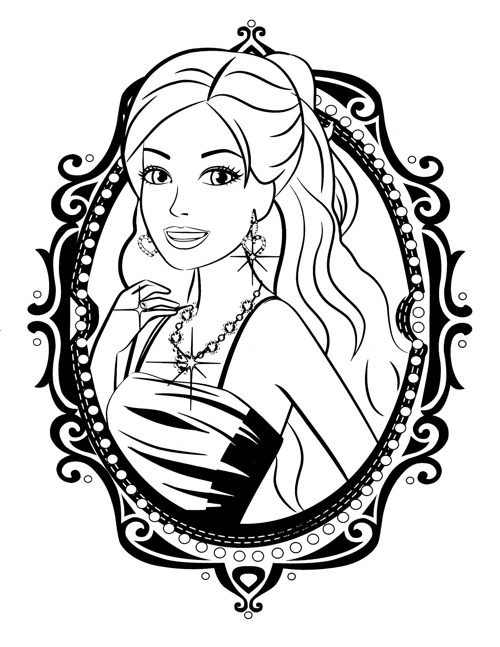 Раскраска Картина с Барби распечатать или скачать бесплатно