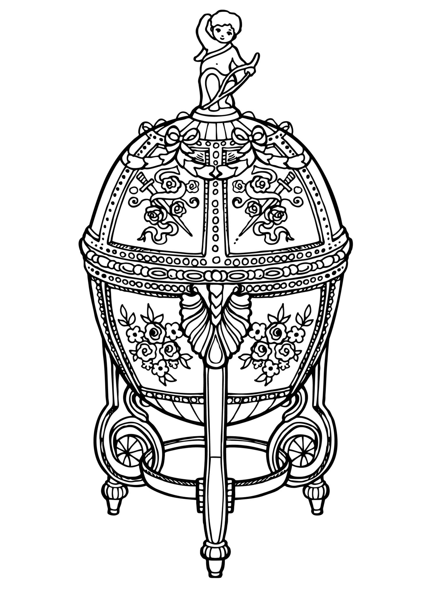 Раскраска Яйцо Фаберже распечатать или скачать бесплатно