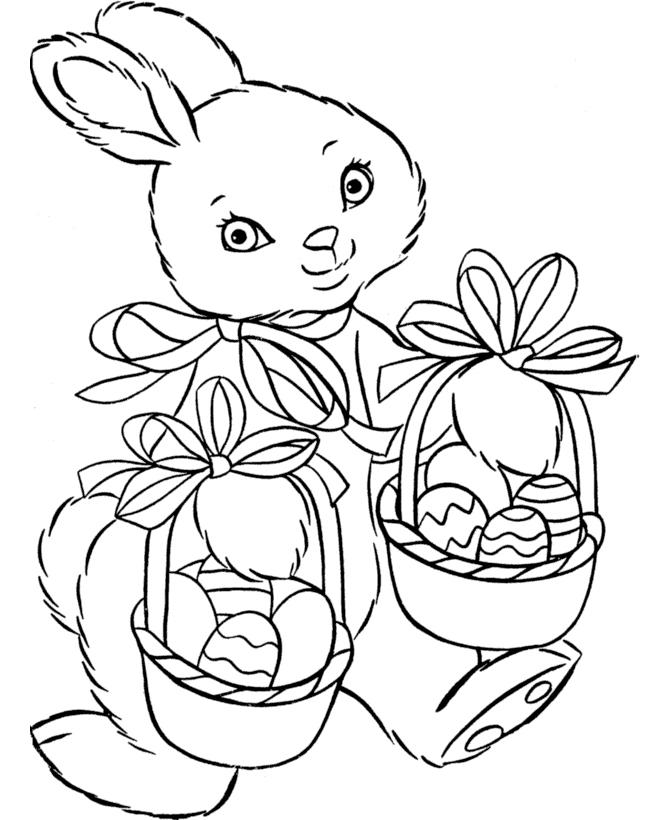 Раскраска Пасхальный кролик с двумя корзинами яиц ...